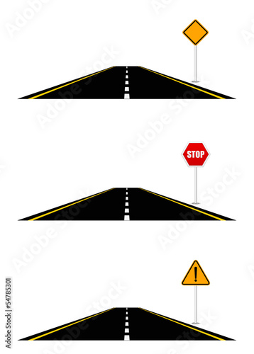 Road and road sign 3d