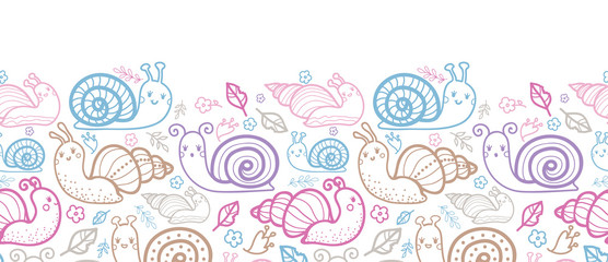 Cute smiling snails horizontal seamless pattern background with