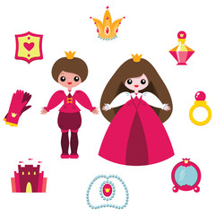 Cartoon prince and princess isolated on white