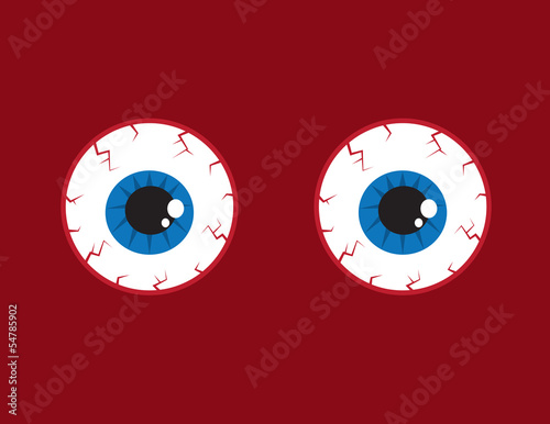 Two round red bloodshot eyeballs