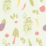 Vegetable seamless pattern. Hand drawn vector