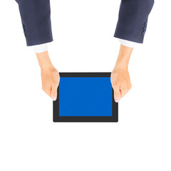 business man hand holding tablet PC