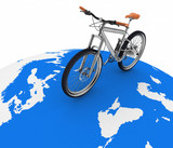 Bicycle rolling on the globe. Tourism on an ecological transport poster
