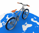 Bicycle rolling on globe. Tourism on an ecological transport. poster