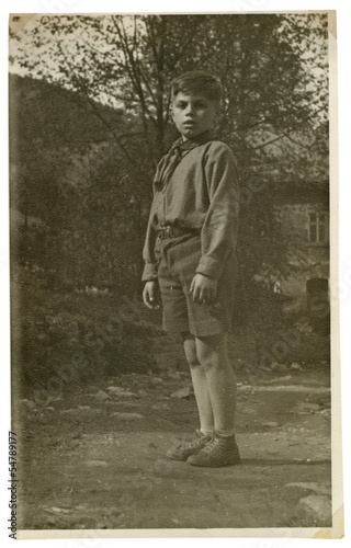 An Boy, Pioneer in the park - Czechoslovakia - circa 1950