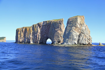 Perce Rock viewed by sea, Quebec, Canada