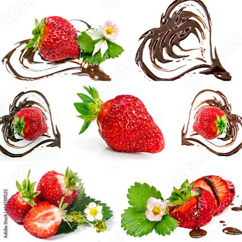 Leckerer Sommergenuss: Erdbeeren und Schokoladenherzen