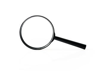 Big black metal loupe stands on white surface, front view