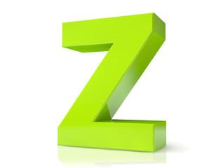 Green 3d letter - Z