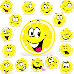 lemon cartoon with many expressions