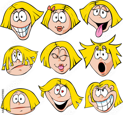 illustration of woman with many facial expressions