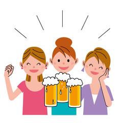 女性 ビール 女子会