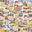 Sommerliche Collage aus Milchprodukten und Früchten