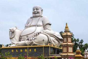 Massive white Sitting Buddha statue at Vinh Trang Pagoda, Vietna