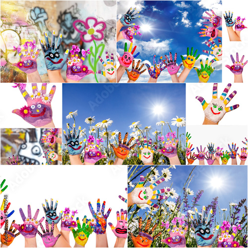 Happy, colorful hands