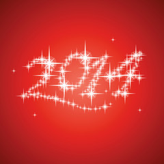2014's New Year vector stars numbers composition red