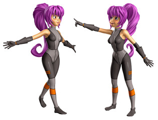 Manga-Mädchen im Weltraumanzug 2