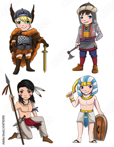 Tuinposter Ridders Warriors from various culture set 2