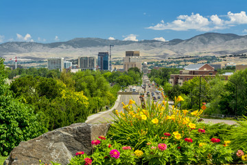 View down a main steet of Boise Idaho Capital