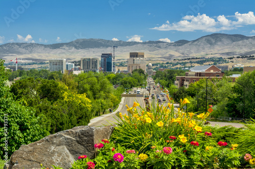 View down a main steet of Boise Idaho Capital