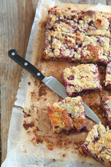 Blackcurrant and raspberry crumble cake