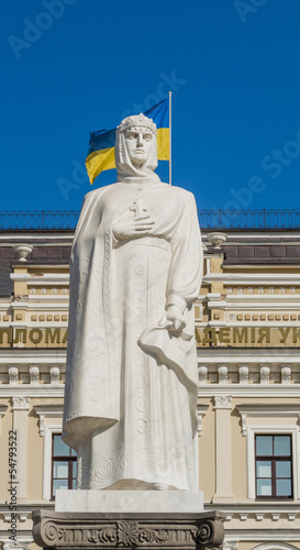 Statue of Princess Olga of Kiev and Ukrainian flag