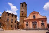 Quaint village square in Civita, Italy