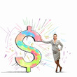 Businesswoman leaning on dollar sign