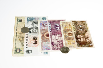 Chinese money bills and coins