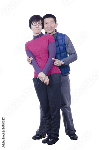 Portrait of married couple on white background