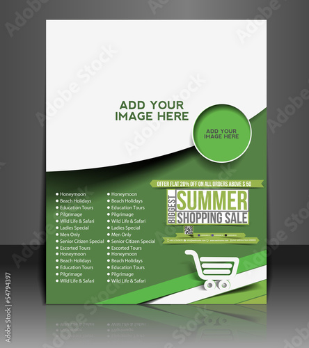 Vector Summer Shopping Flyer Magazine Cover