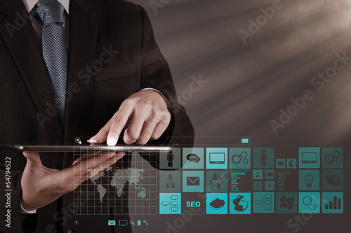 businessman hand working with www. written in search bar on mode