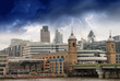 Storm over City of London, financial center and Canary Wharf at