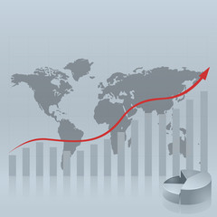 Statistical background with map of the world for business report