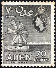 Salt Works and Queen Elizabeth II (Aden Colony 1953)