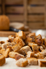 bread croutons cooked in the oven