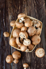 mushrooms in a basket, top view