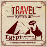 Vintage travel Egypt vacation poster poster