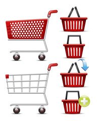 Shopping Cart and Basket set.Vector