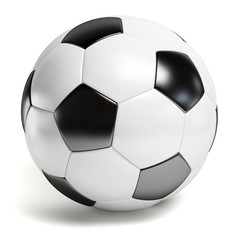 Leather football. Single soccer ball isolated