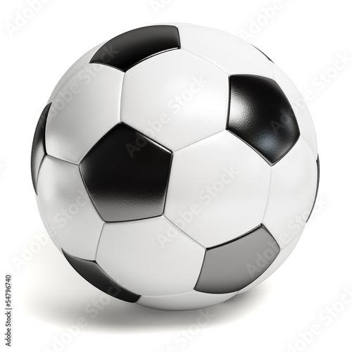 Leather football. Single soccer ball isolated
