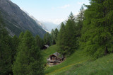 Chalets in pastures above Zermatt in the Swiss Alps