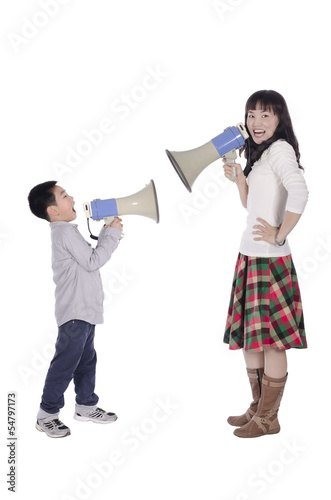 Mother and child using megaphone