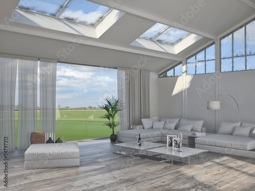 3d rendering of white living room interior with couch