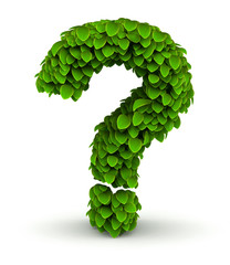 Question mark, green leaves font
