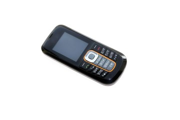 Mobile phone in black on a white background