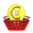 golden european union coin in red basket vector