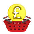 golden british pound coin in red basket vector