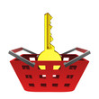 golden key in red basket vector
