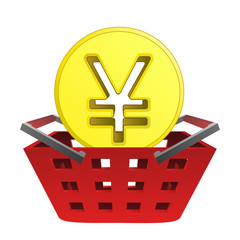 golden yuan or yen coin in red basket vector